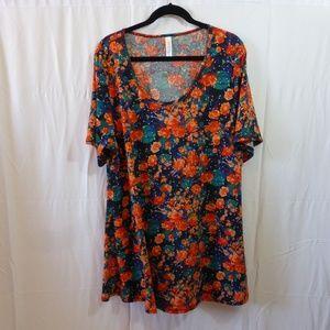 LuLaRoe Perfect T Blue with Orange Roses 3X
